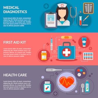 Três banners horizontais médicas com ícones médicas em estilo simples