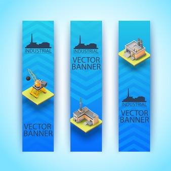 Três banners industriais isométricos e verticais isolados com grandes manchetes de fundo azul