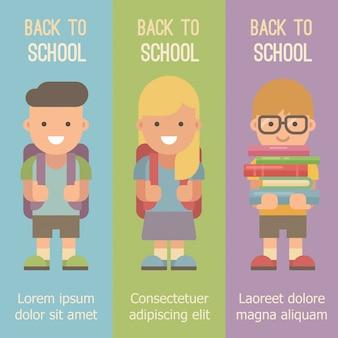 Três banners verticais com crianças em idade escolar com mochilas.
