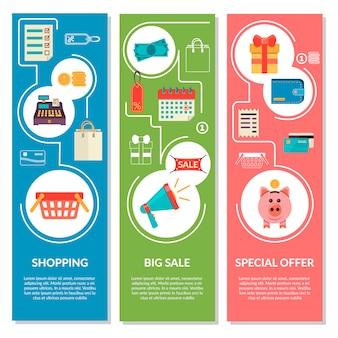 Três banners verticais com ícones de compras em estilo simples. ícones de venda de vetor