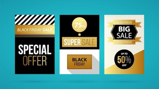 Três banners verticais de sexta feira negra / cartazes em estilo dourado em fundo azul-turquesa