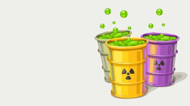 Três barris com resíduos tóxicos