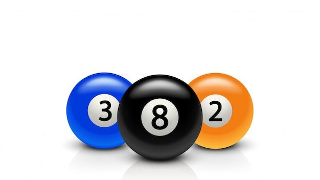 Três bolas de bilhar com reflexão