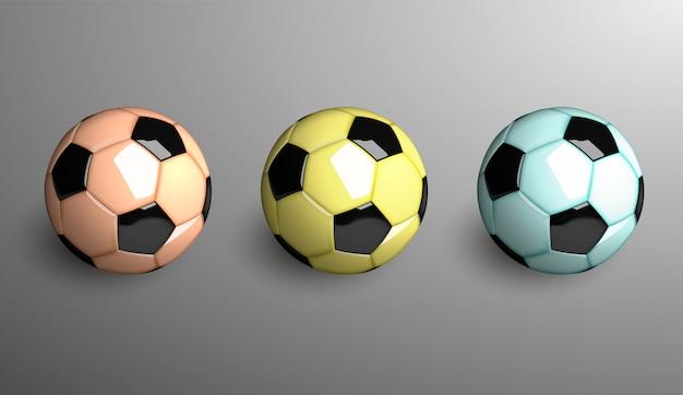 Três bolas de futebol realista. ilustração.