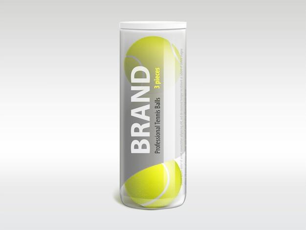 Três bolas de tênis em tubo de plástico transparente brilhante de marca