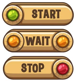 Três botões com luzes de cores diferentes