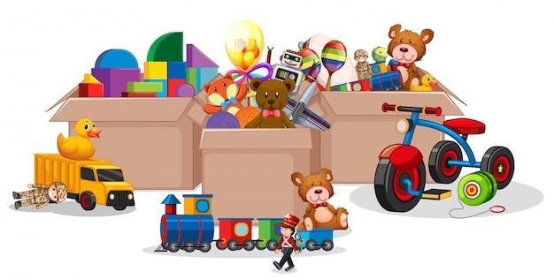 Três caixas cheias de brinquedos em branco