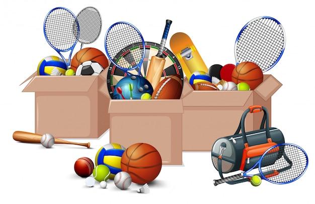 Três caixas cheias de equipamentos de esporte em fundo branco