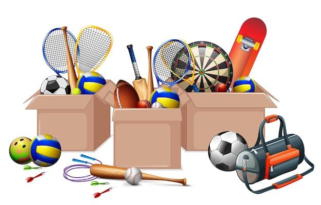 Três caixas cheias de equipamentos esportivos em fundo branco