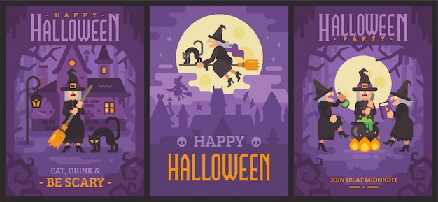 Três cartazes de halloween com velhas bruxas