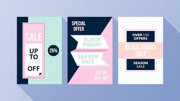 Três cartazes verticais de sexta-feira negra com cores suaves no estilo plano no fundo azul