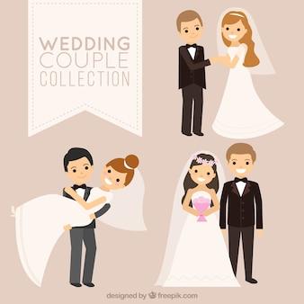 Três casais de noivos sorridentes