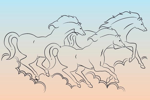 Três cavalos estão soprando poeira e correndo muito rápido