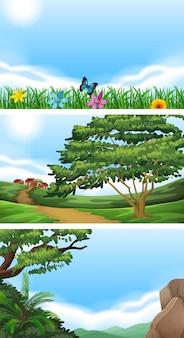 Três cenas com campo e colinas