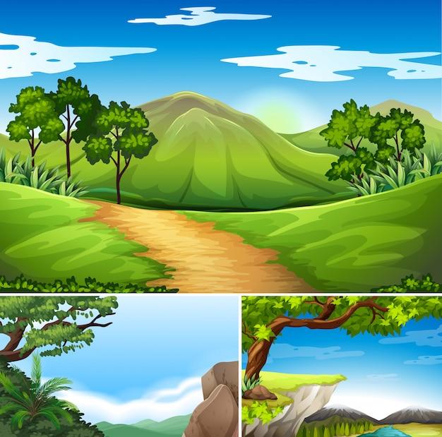 Três cenas com montanhas durante o dia