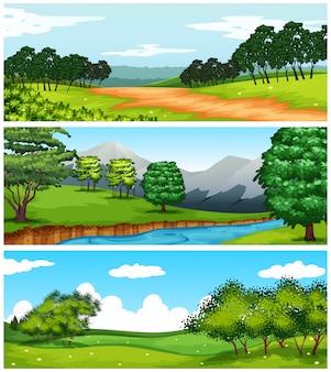 Três cenas da natureza com campos e árvores