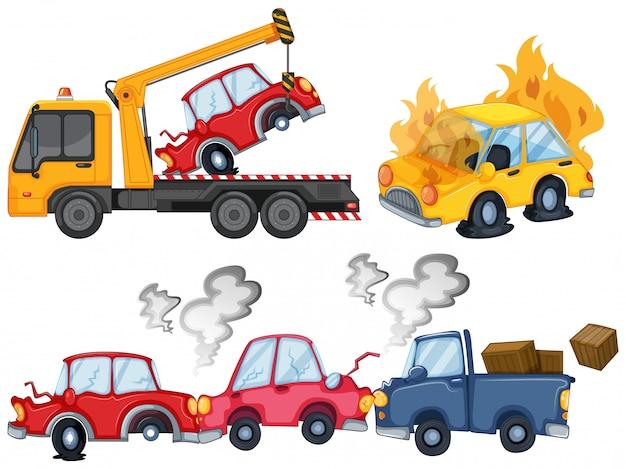 Três cenas de acidente de carro isolado