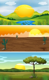 Três cenas de fundo ao pôr do sol