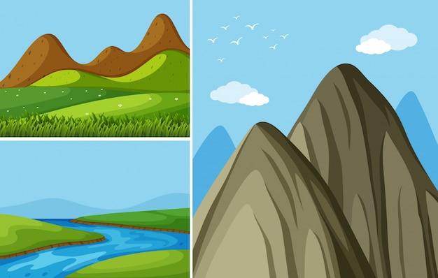 Três cenas de montanha com rio e campo