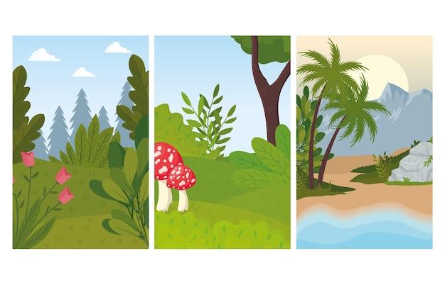 Três cenas de paisagens com flores e design de fungos