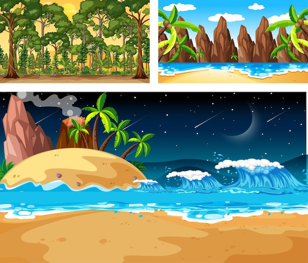 Três cenas diferentes de paisagens naturais