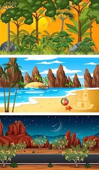 Três cenas horizontais de floresta diferentes
