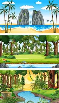 Três cenas horizontais de natureza diferente