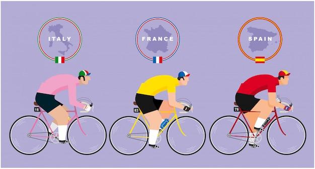 Três ciclistas andando de bicicleta representando os três grandes passeios de bicicleta de estrada: tour de france, giro d'italia e vuelta a epaña. mapas e bandeiras dos três países em cima de cada piloto.