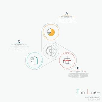 Três círculos multicoloridos com ícones