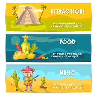 Três coloridas e isoladas bandeira mexicana conjunto com comida atração e descrições de música vector a ilustração