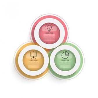 Três, coloridos, translúcido, sobrepondo círculos