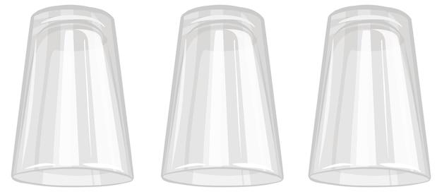 Três copos de água isolados no fundo branco