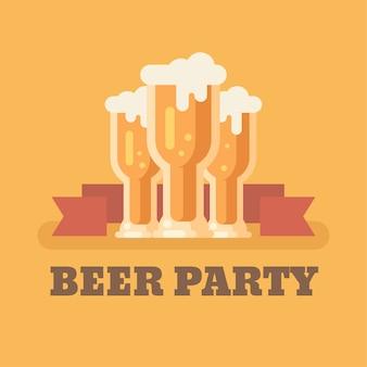 Três copos de cerveja na ilustração plana de fundo laranja