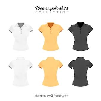 Três cor mulher polo camisa coleção