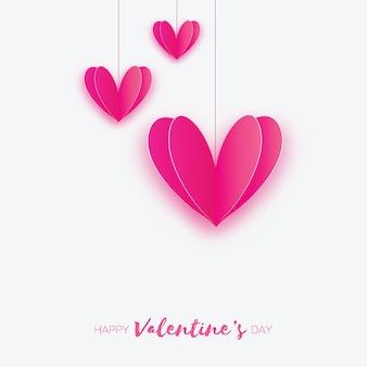 Três corações de amor rosa em estilo de corte de papel. férias românticas