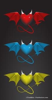 Três corações diabo com cauda