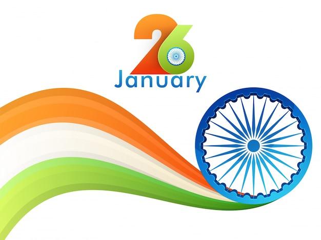 Três cores do estilo de onda na bandeira indiana com roda ashoka.