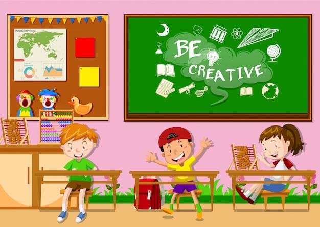 Três crianças, aprendizagem, em, sala aula