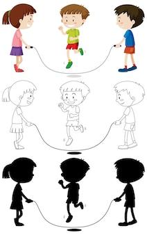Três crianças brincando de pular corda em cores, contornos e silhueta
