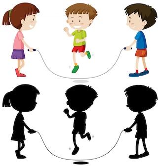 Três crianças brincando de pular corda na cor e no contorno e silhueta