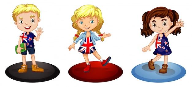 Três crianças de diferentes países