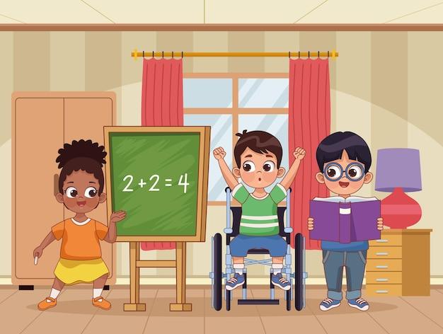 Três crianças deficientes estudando