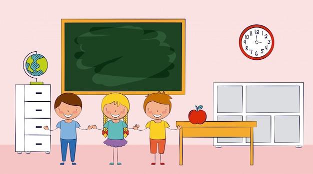 Três crianças em uma escola com ilustração de elementos de escola