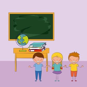 Três crianças em uma sala de aula com ilustração de elementos de escola