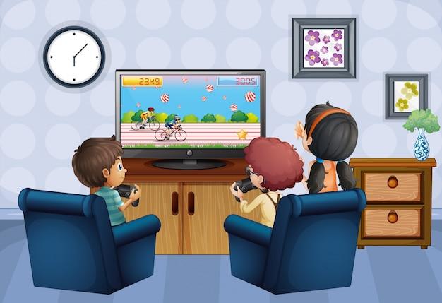 Três crianças jogando jogo em casa