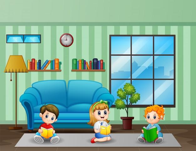 Três crianças lendo livro em uma ilustração de quarto