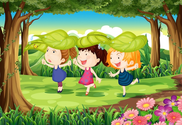 Três crianças lúdicas na floresta