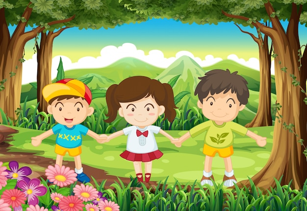 Três crianças na floresta