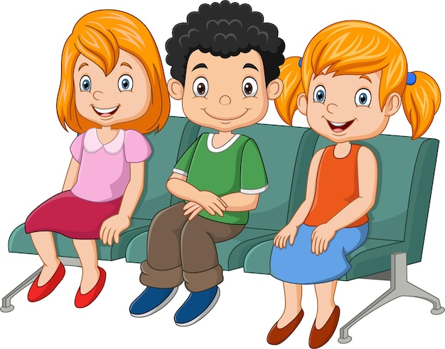 Três crianças sentadas no assento