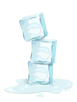Três cubos de gelo realistas com gotas de água na ilustração de fundo branco